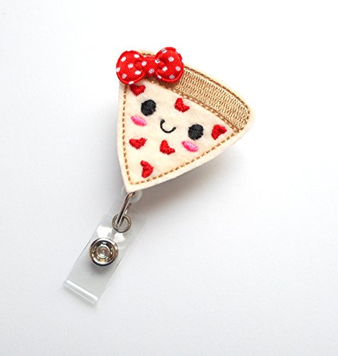 Pizza Badge Reel (with Bow) - Nutritionist Badge Holder - ID Felt Badge Holder - Food Badge Reel - Nurses Badge Holder - Funny Badge Reel - Dietitian Badge - Humorous Badge Clip Photo #2