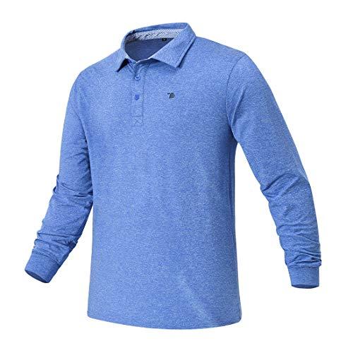 donhobo Herren Poloshirt Langarm Polokragen mit Knopfleiste Regular Fit Basic Polyester Elegante Polohemd für Männer Golf T-Shirt Blau XL