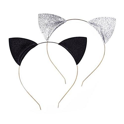 Frcolor 2pcs Glitzer Katze Ohren Stirnbänder Katzen Ohr Haar Reifen Spangen für Party und tägliche tragen schwarz und Silber