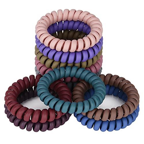 JessLab Espiral Corbatas en Pelo, 10 Pcs sin Rastro Cintas de Cordón Telefónico bobinas de Plástico Porta Cola de Caballo Accesorio para Cabello sin Daños para Mujeres Niñas, Colores Surtidos (#6)