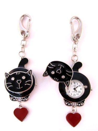 Taschenuhr Katze Schwarz Für Ärzte Krankenschwestern Sanitäter Köche & Zusätzliche Batterie