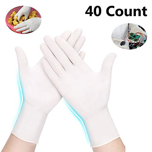 40pcs Disposable Latex Gloves, Powder Free Matte Medium Size,20 Pairs Per Pack Food-grade Safety