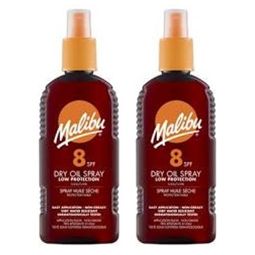 2 Malibu Dry Oil Sprays SPF 8. Pack Contains 2 Bottles - 200ml Each by Malibu