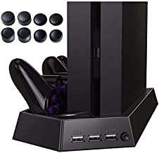 4 in 1 PS4 Vertical Stand w/ Cooling Fan Charging Station w/ Dual Charger Ports USB HUB for PS4 Controll + 8pcs enhanced c...