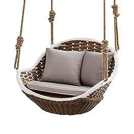 BIIII Fauteuil Swing en rotin Chaise en Osier intérieure extérieure Chaise Suspendue, canapé-hamac Paresseux ménage avec…