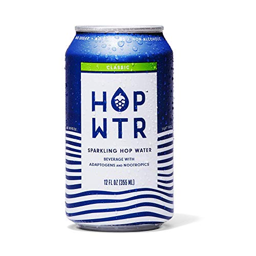 HOP WTR - Sparkling Hop Water - Classic (12 Pack) - NA Beer, No Calories or Sugar, Low Carb, With Adaptogens and Nootropics for Added Benefits (12 oz Cans)