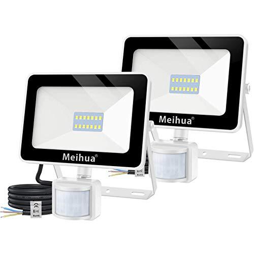 Meihua - 2 focos LED de 15 W para exteriores con detector de movimiento, foco exterior de 1500 lúmenes, foco LED de 6500 K blanco frío, foco LED IP66 resistente al agua, garaje, hotel