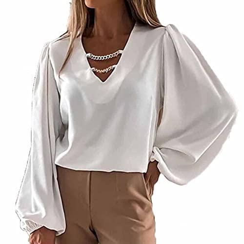 TYTUOO Blusa de manga larga para mujer, con cuello en V, estilo murciélago, para primavera, otoño, manga larga, estilo sexy y elegante, A-blanco, S