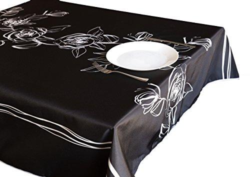CIRAD Set Nappes Black Roses 100 x 148 cm gaufree Anti-Taches Couleurs Décoration de Maison de Printemps