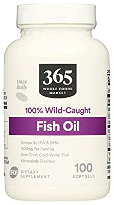 365 by Whole Foods Market, Supplements - EFAs, Fish Oil (100% Wild Caught), 100 Count