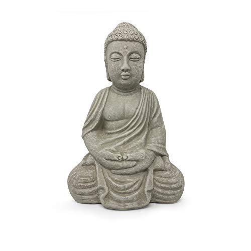 Elly Décor Meditating, 13 inch Tall Ceramic Handcrafted Budha Decor Indoor and Outdoor Garden Sculptures Buddha Statue, Gray Cement Stone