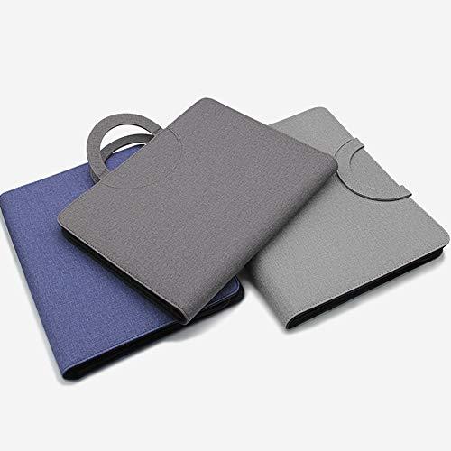 POWER BANKS Dossier de conférence zippé Dossier Professionnel A4 Porte-Documents en Cuir PU avec 10 000 mAh Powerbank et Chargement sans Fil,Bleu