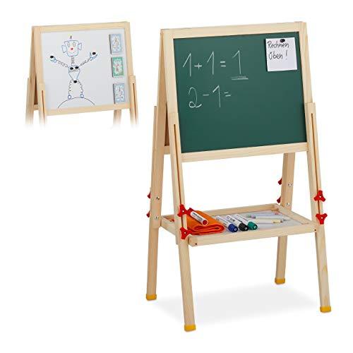 Relaxdays Naturale Lavagnetta per Bambini, Regolabile in Altezza & Magnetica, Gesso, 81-104x45x42 cm, Legno, Metallo, plastica, 104 x 45 x 42 cm