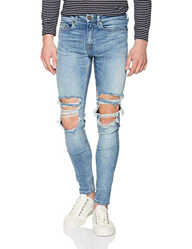 New Look Tom Rip Superskinny Jeans Skinny, Blu (Light Blue 45), 28W/Regular Uomo