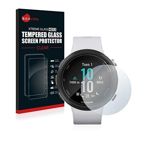 savvies Cristal Templado Compatible con Garmin Swim 2 Protector Pantalla Vidrio Proteccion 9H Pelicula Anti-Huellas