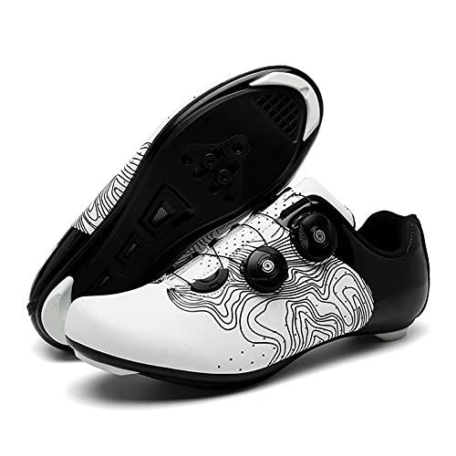 ZQW Zapatillas De Ciclismo Zapatos Bicicleta Carretera Hombres, Compatible Bicicleta Carretera Montaña Zapatillas Peloton SPD para Clip Calas Delta para Bloquear Pedal