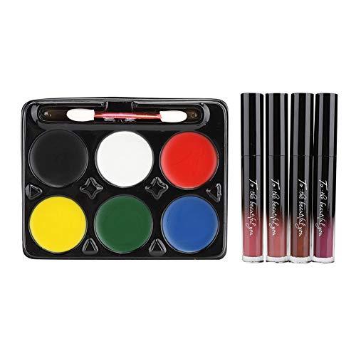 Kit de pintura para la cara, juego de brillo de labios cosmético de larga duración para la pintura de la cara de Halloween Herramienta de maquillaje para cosplay, fácil de pintar y lavar(si)
