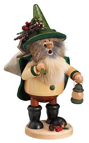 German Incense Smoker Forest Gnome Hiker, green - 25cm / 10inch - Drechselwerkstatt Uhlig