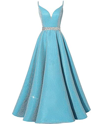 HUINI Abendkleider Lang Vintage Ballkleider Abiball Promkleider Glitzer Damen Hochzeitskleider Prinzessin Rückenfrei Partykleider Blau 46