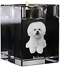 Bichon, Crystal Candlestick, Candle Holder with Dog, Souvenir, Limited Edition