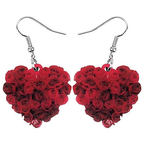 OTXA Acrilico San Valentino A Forma di Cuore Orecchini Rosa Pendente Gioielli Donna Girly Charm Decorazione Regalo