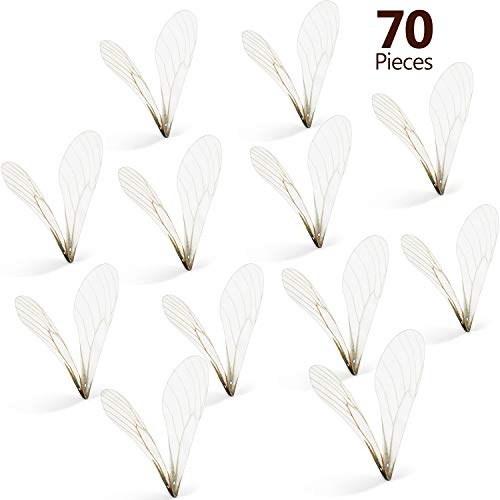 BBTO 70 Pairs White Dragonfly Shape Wing Charms Dragonfly Wing Craft Cloth Wing Earring Charms for DIY Art Craft Women Earring Pendant Jewelry Making