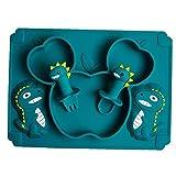 PiniceCore 1 Conjunto De Alimentación De Silicona Bebé Tazón De Mordedores Juguetes para Bebés De 0-12 Meses Dinosaurio De La Historieta La Alimentación De La Placa Baby Set Vajilla Bebé