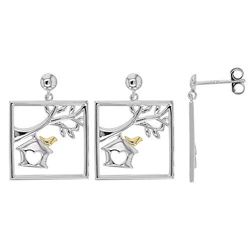 Jouailla – Ohrringe Silber rhodiniert quadratisch mit Baum, Vogelhaus und Vogel vergoldet (313445)