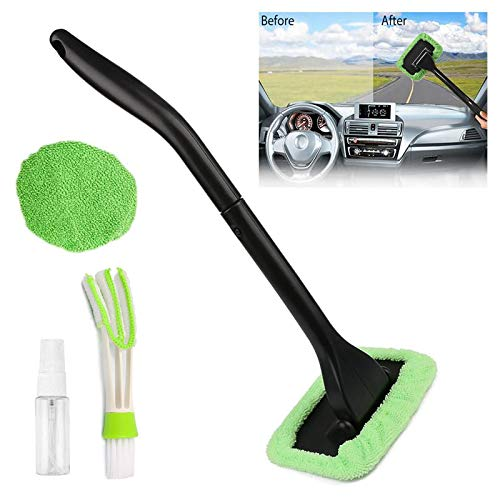 KICOFIT Car Window Cleaner for Men Women Car Windshield Cleaning Tool Set with Detachable Handle Pivoting Head Microfiber Cloths and Spray Bottle
