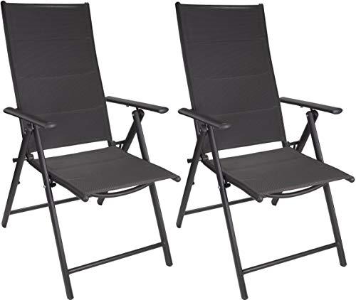 Brubaker 2er Set Gartenstühle Riva - Faltstühle klappbar- 7-Fach verstellbare Rückenlehnen - wetterfeste Klappstühle - Anthrazit