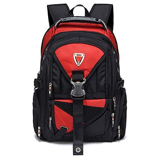 Ssszx - Zaino per computer portatile da 17 pollici in tessuto Oxford borsa da viaggio multifunzionale per la scuola resistente all'acqua per attività all'aperto per donne e uomini,Rosso