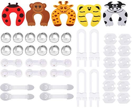 Cubiertas de Protección de Socket,Protector Enchufes Bebes,Cerraduras de Seguridad Niños Ajustables,Protectores de Esquina de Silicona,Kit de Seguridad para Bebés