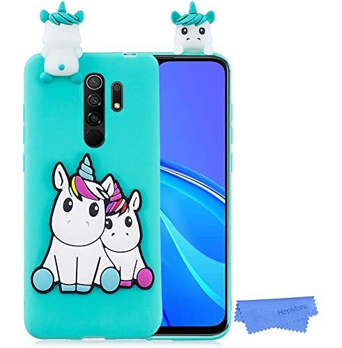 HopMore Funda para Xiaomi Redmi 9 Silicona Flexible Blando Divertidas Animal Carcasa Redmi 9 Dibujo 3D Soft Case Ultrafina Antigolpes Caso Protección Cover Gracioso - Grünes Einhorn