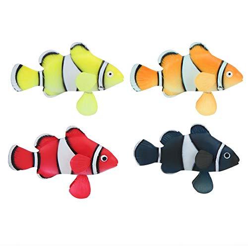 Pssopp 4 Stücke Aquarium Dekoration Fisch Clownfisch Bewegungen Aquarium Schwimm Tropische Fische Silikon Künstliche Bewegung Schwimmende Fische Ornament Dekoration für Aquarium