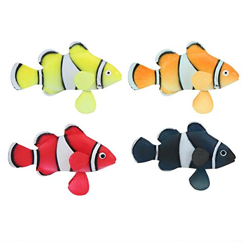 Atyhao Aquarium Ornament Fish, 4Pcs 2.6in Silikon Bionic Luminous Clownfish Fish für Aquarium Floating Decoration
