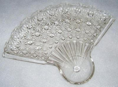 Vintage Anchor Hocking Daisy Button Clear Glass Fan Shaped Snack Plate