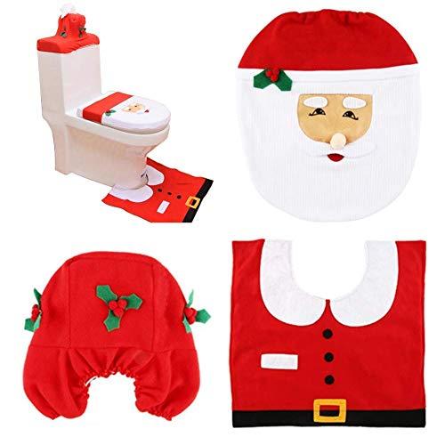 HABI Happy Santa Toilet Seat Tank Cover and Rug Set Bathroom Christmas Decorations Supplies