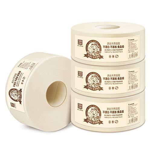 YBCD 3-lagige Jumbo-Toilettenpapierrollen 700 g/Rolle, Leere Kernrolle 4 Rollen, Super erschwingliches Haushaltspapier, große Rolle Toilettenpapier für Hotel Öffentlicher Toilettenpapierhalter für to