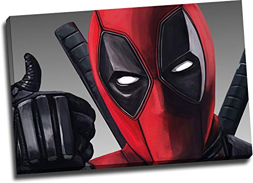 Deadpool 2 Office Wall Decor Artwork Art 16' x 12' Framed Wall Art Superhero Movie Deadpool Thumbs Up Wall Art Prints Chic Office Art, Stretched and Ready to Hang