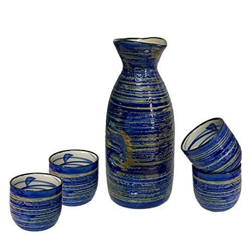 GAOFQ 5PCS Ceramic Sake Set mit 1 Stück 9,5 Unzen 280 ml Sake Carafe und 4 Stück 1,7 Unzen 50 ml Sake Cups