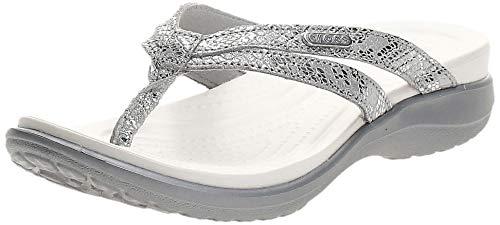 Crocs Capri Strappy Flip W, Zapatos de Playa y Piscina para Mujer, Plateado (Silver/Silver 00n), 42/43 EU