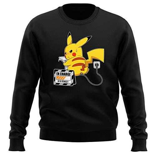 Okiwoki Pull Noir Parodie Pokémon - Pikachu - en Charge. Ne Pas déranger ! (Sweatshirt de qualité Premium de Taille L - imprimé en France)