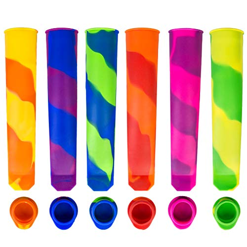 Ozera 6 Pack Popsicle Molds Reusable Ice Pop Molds Maker Silicone Popsicle Molds for Kids for DIY Frozen Popsicles