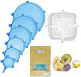 Lieko - Tapas de silicona extensibles [12 paquetes] – Redondas y cuadradas, diferentes...