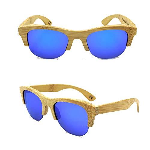 AMTSKR Unisex - Gafas de Medio Marco de bambú Vintage, Gafas de Sol para Viajes al Aire Libre Tonos De Moda (Color : Bamboo Frame-Blue)