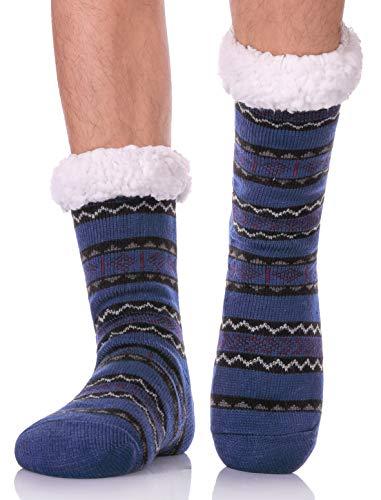 LANLEO Men's Fuzzy Ripple Slipper Socks Super Soft Warm Fleece Lining Knit Non Slip Winter Socks Blue
