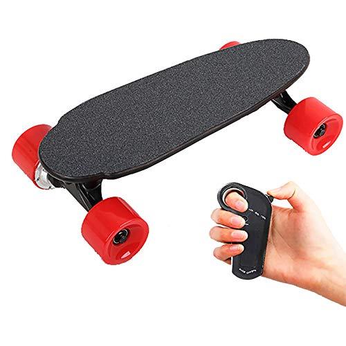 FGKING Elektro-Skateboard Elektronische Longboard Skateboard 15 km/h Höchstgeschwindigkeit, 150 W Motor, Motorlongboard mit Wireless Remote Control Geschenk für Erwachsene Kinder Teens,Rot