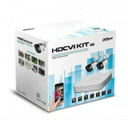 Kit Videosorveglianza Dahua HDCVI con Dvr 4 canali, 2 telecamere fisse IR 720P e 1 HD da1Tb, alimentatore e cavo