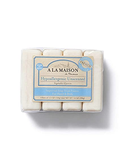 A La Maison de Provence Bar Soap   Hypoallergenic Unscented   French Milled Moisturizing Natural Hand and Body Soap   3.5 Oz each (4 Bars Total)