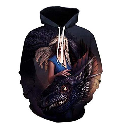 Hoodies lente en zomer zwarte trui lange mouwen trui schoonheid en draak achtste seizoen 3D digitale afdrukken paar trui